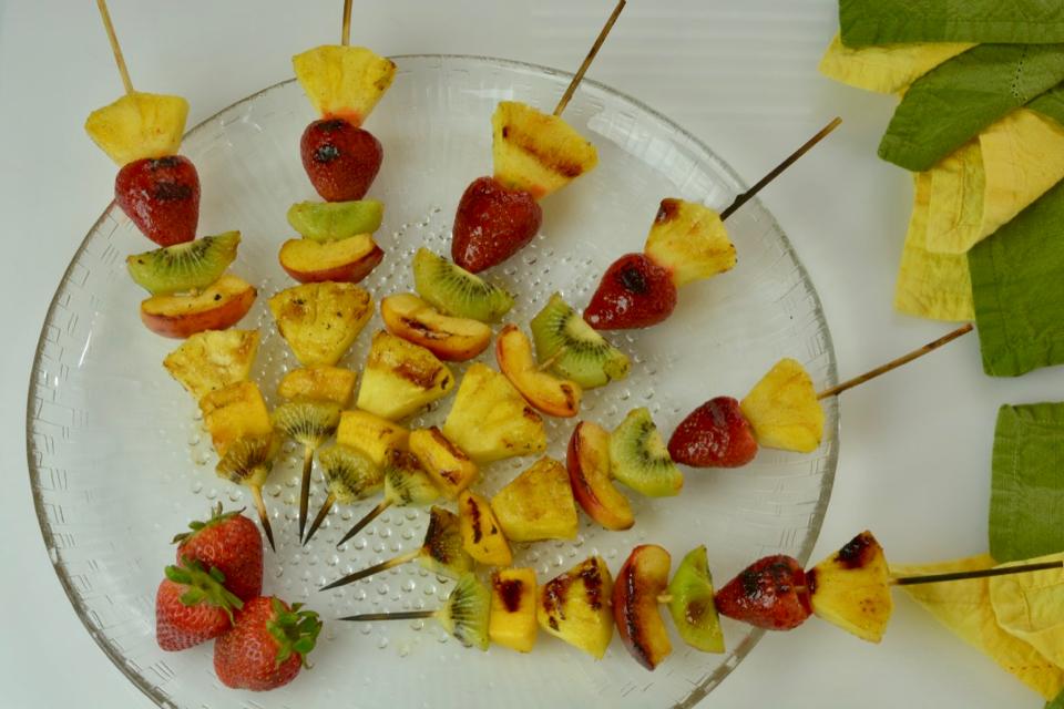 Grilled Fruit Skewers with Honey Cinnamon Glaze