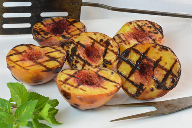 Grilled Peaches right off the grill