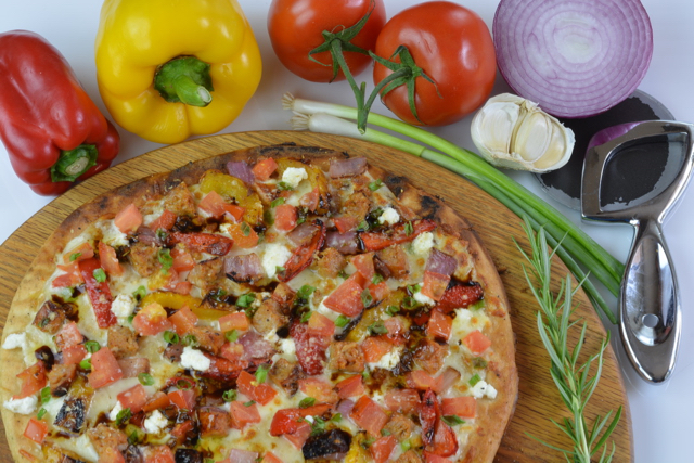 Gluten free Grilled Sausage and Vegetable Pizza
