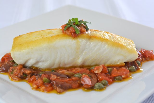 Halibut Puttanesca, all the flavours of the Mediterranean.