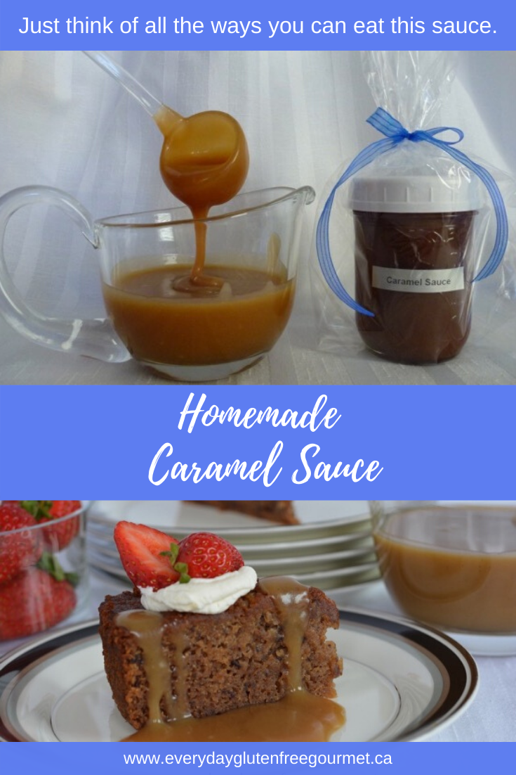 Homemade Caramel Sauce ready to spoon onto dessert plus a jar of sauce wrapped for giving.