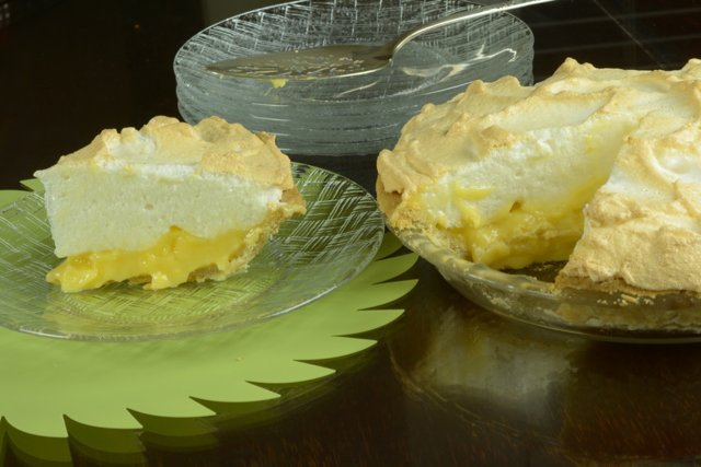 A piece of gluten free Lemon Meringue Pie cut and ready to eat.