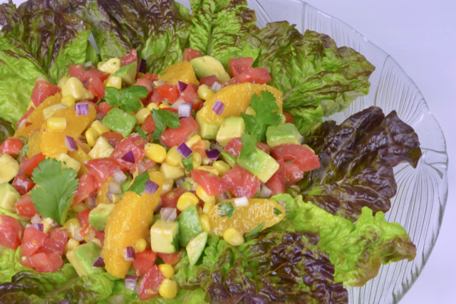 A platter of Mexican Orange Avocado Salad