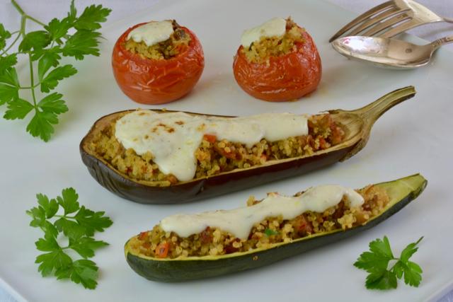 zucchini, eggplant and tomatoes stuffed with Quinoa and Italian Sausage