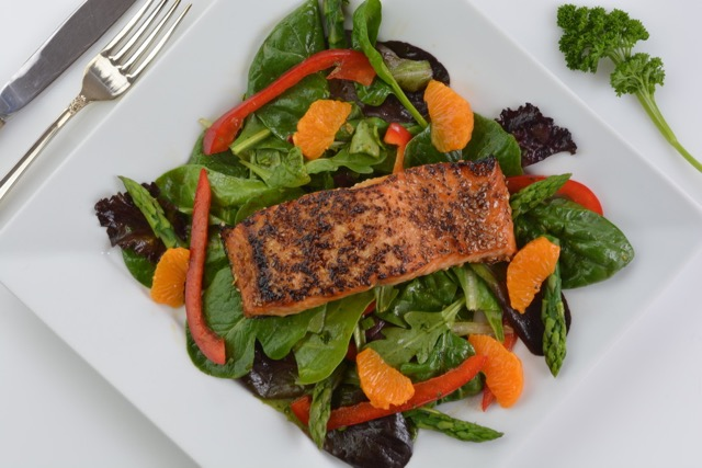 A spring main course salad, Sesame Salmon on Greens