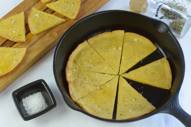 Socca, a thin, unleavened pancake made from chickpea flour; cooked and ready to eat.