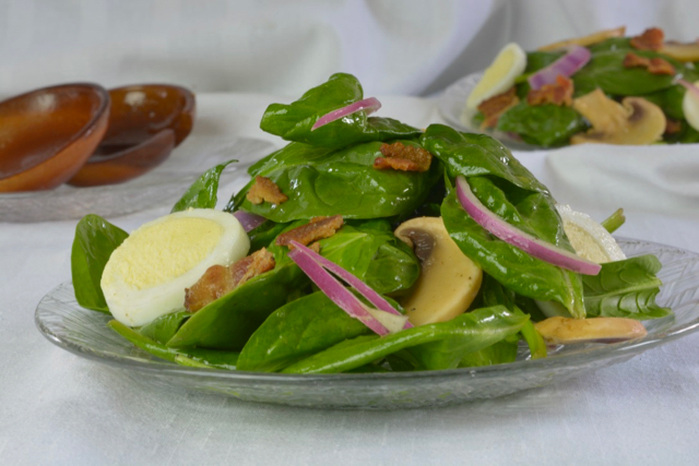 Individual Spinach Salad with Hard Boiled Eggs