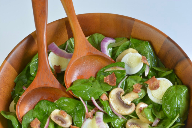 Spinach Salad with Hard Boiled Eggs and bacon
