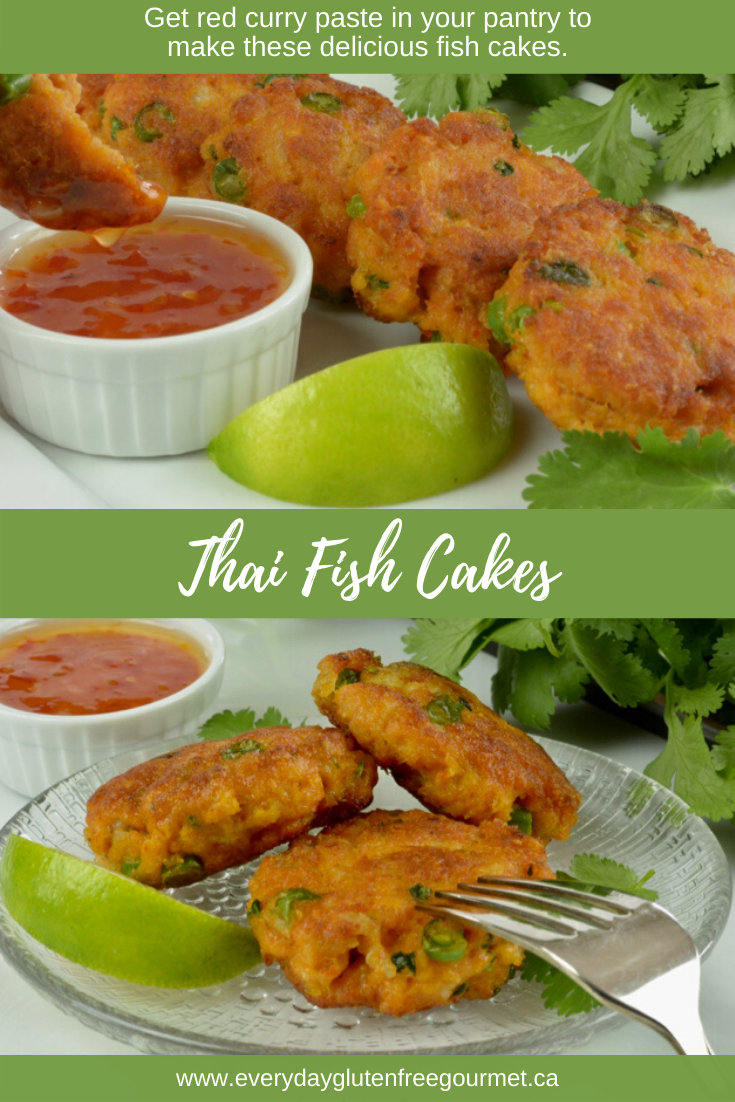 A platter of Thai Fish Cakes served with sweet chile sauce.