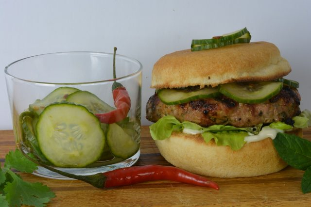 Thai Turkey Burgers with basil, cilantro and mint.