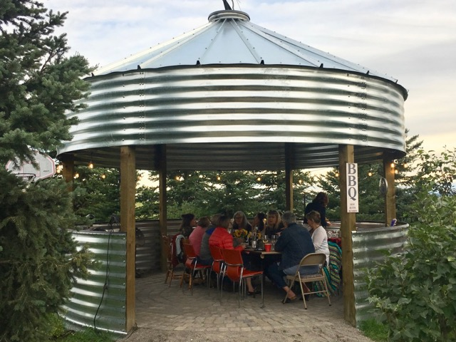 The new grain bin as Outdoor Dining Area