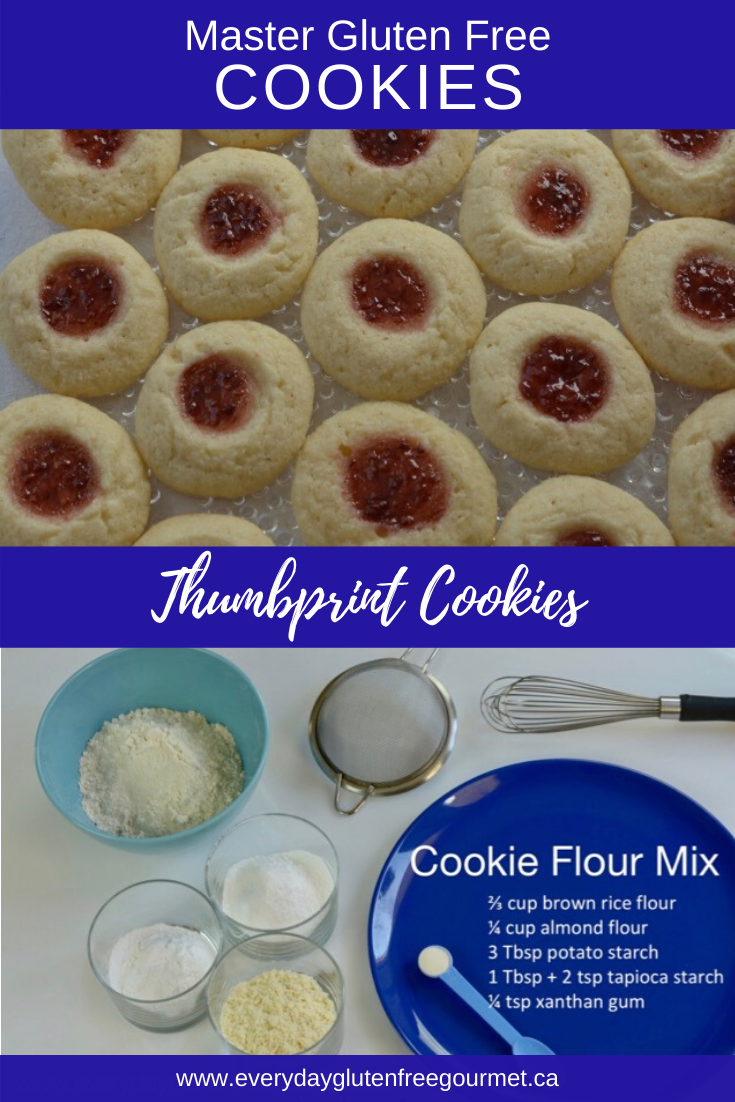Thumbprint Cookies filled with raspberry jam