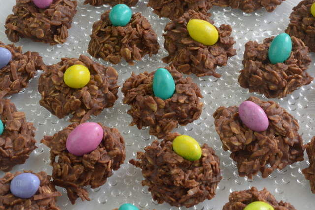Uncooked Dainties with colourful Easter Egg m&m candies on top.