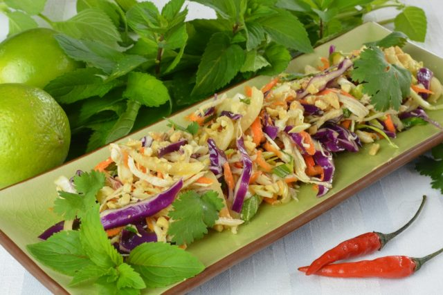A plate of Vietnamese Cabbage Chicken Salad