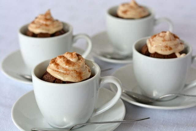 Gluten free Dairy Free cappuccino brownies baked in tiny espresso cups.