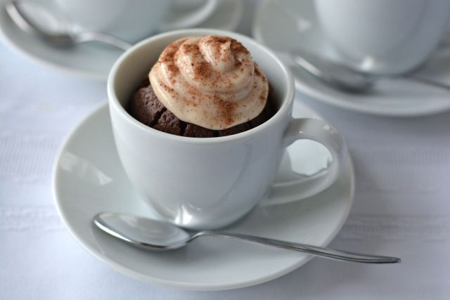 Gluten free, dairy free cappuccino brownies baked in tiny espresso cups.