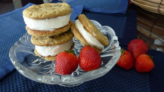A plate of gluten free chocolate chip cookie ice cream sandwiches