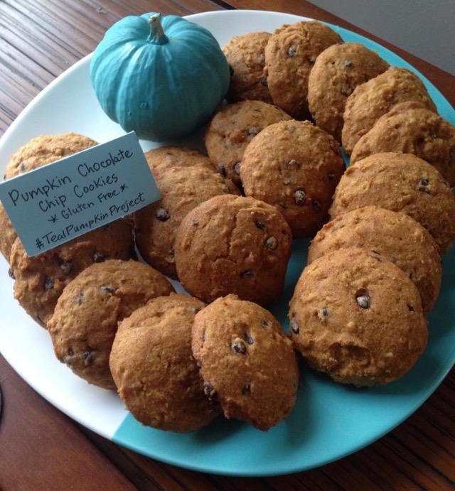 Pumpkin Chocolate Chip Cookies on teal plate