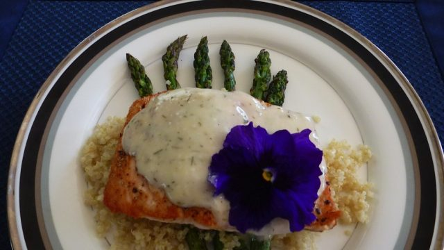 Grilled Salmon with West Coast Dill Barbecue Sauce