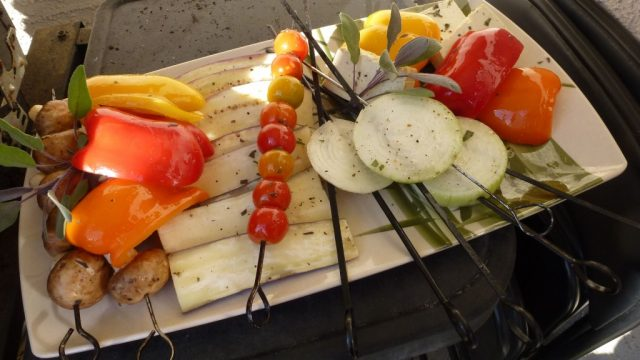 Balsamic marinated grilled vegetables in the making.