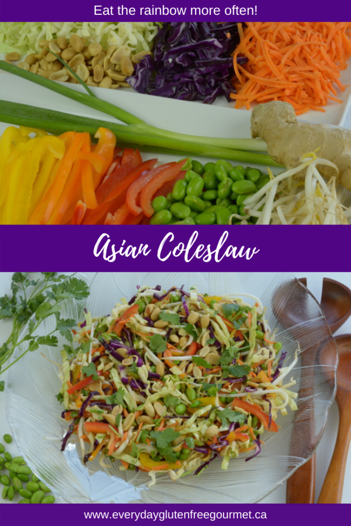 A colourful Asian Coleslaw with a Peanut Dressing.