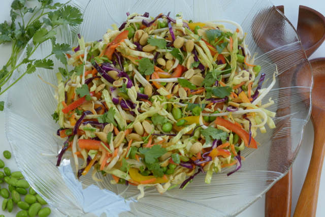 A big bowl of Asian Coleslaw with Peanut Dressing.