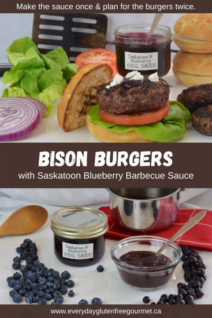 Grilled Bison Burgers with Saskatoon-Blueberry Barbecue Sauce and goat cheese, a taste sensation you don't want to miss.