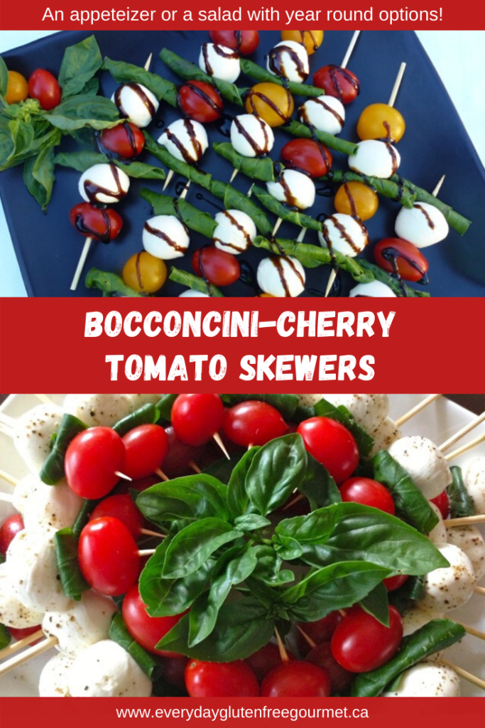 Bocconcini Cherry Tomato Skewers can be made year round. Serve it on a long skewer as a salad or on a toothpick for a pop-in-your-mouth hors' d'oeuvres.