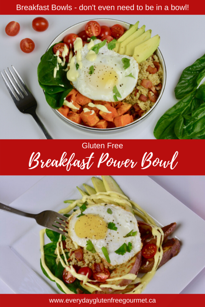 A Breakfast Power Bowl served in a bowl or on a plate, you decide.
