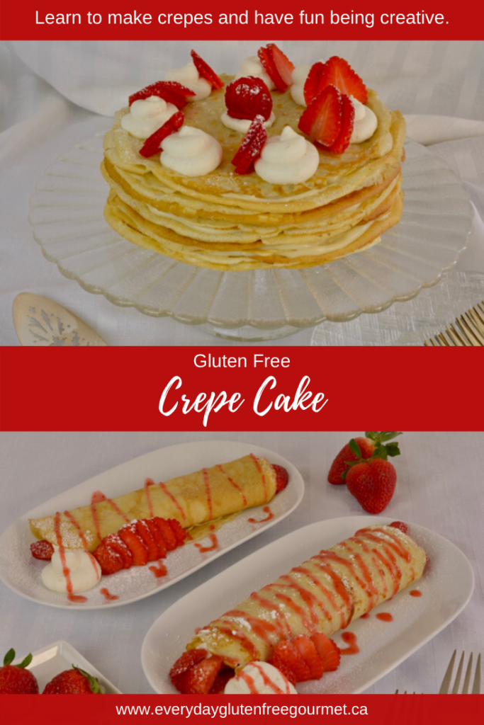 Making a Crepe Cake is the perfect way to master making crepes. This one is filled with pastry cream and served with strawberry sauce.