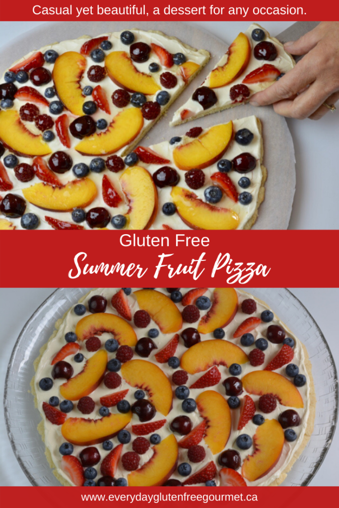 Summer Fruit Pizza is colourful and uses the rainbow of colour from the summer fruits of your choice.