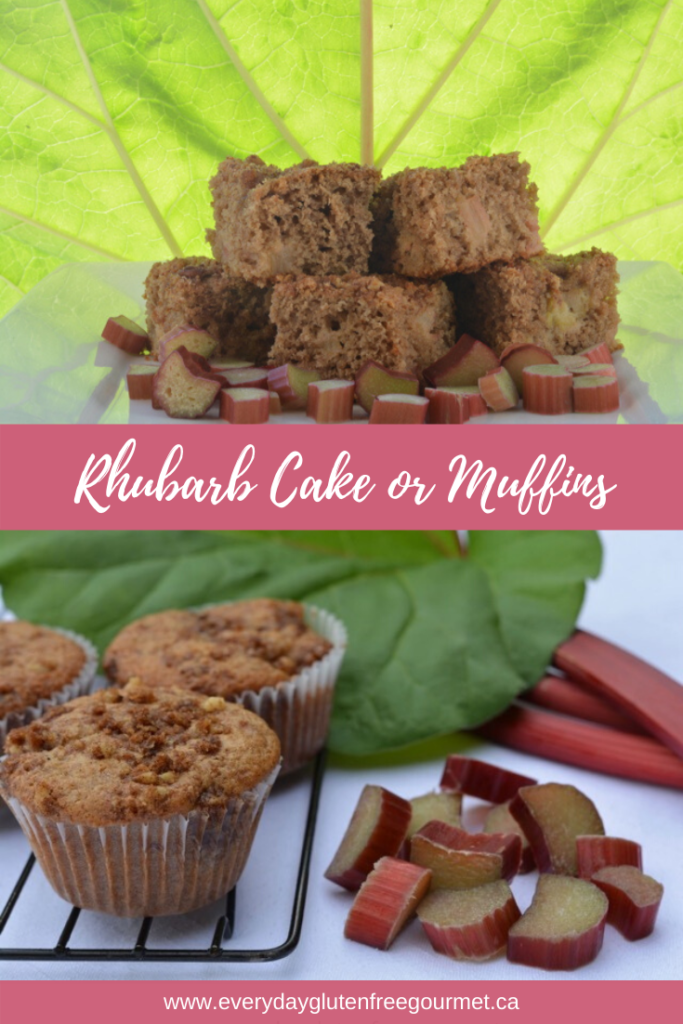 Rhubarb Cake made from a muffin recipe.