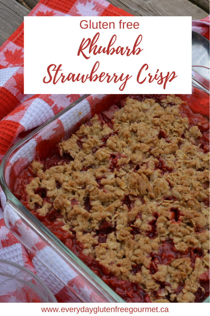 Rhubarb Strawberry Crisp, the perfect spring and summer dessert served warm with ice cream.