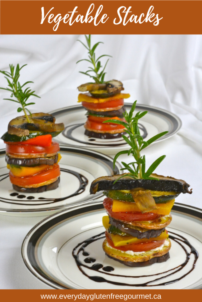 Vegetable Stacks are a gourmet touch for entertaining. Cut the vegetables in similar size pieces and finish each stack with a stem of fresh rosemary.