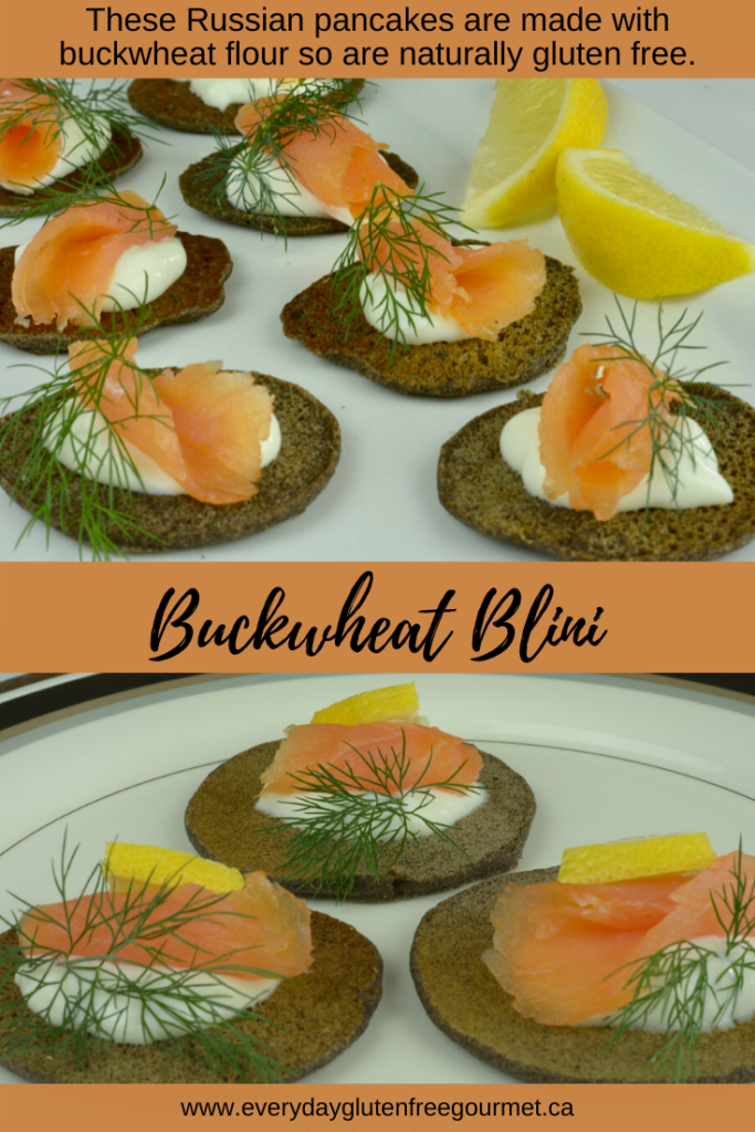 Gluten free buckwheat blinis with smoked salmon, sour cream and dill.