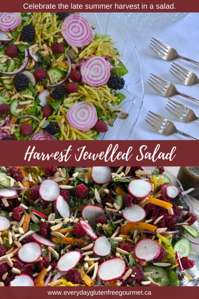 A beautiful Harvest Jewelled Salad showcasing late summer produce.