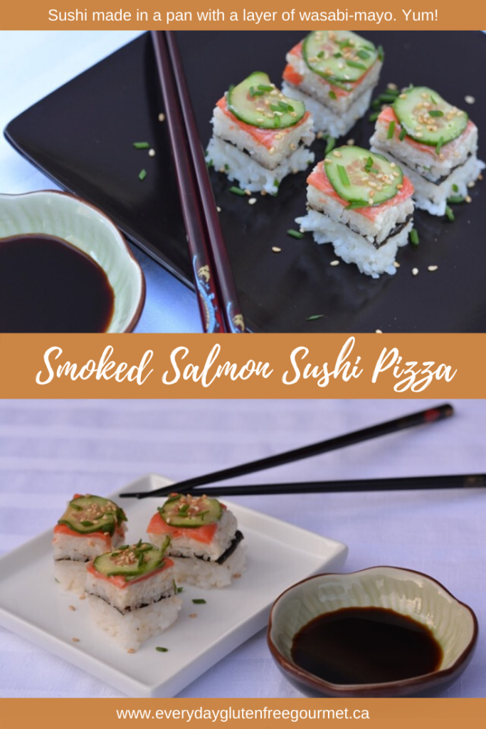 This Smoked Salmon Sushi Pizza is made in a square pan with a wasabi-mayo layer. Simply cut and serve.