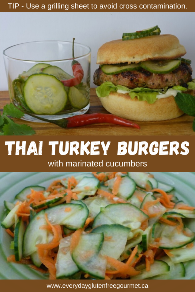 Thai Turkey Burgers are filled with fresh herbs and served with a delicious cucumber condiment.