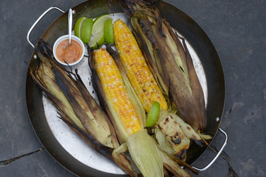 Grilled Corn on the cob with chipotle butter and fresh lime.
