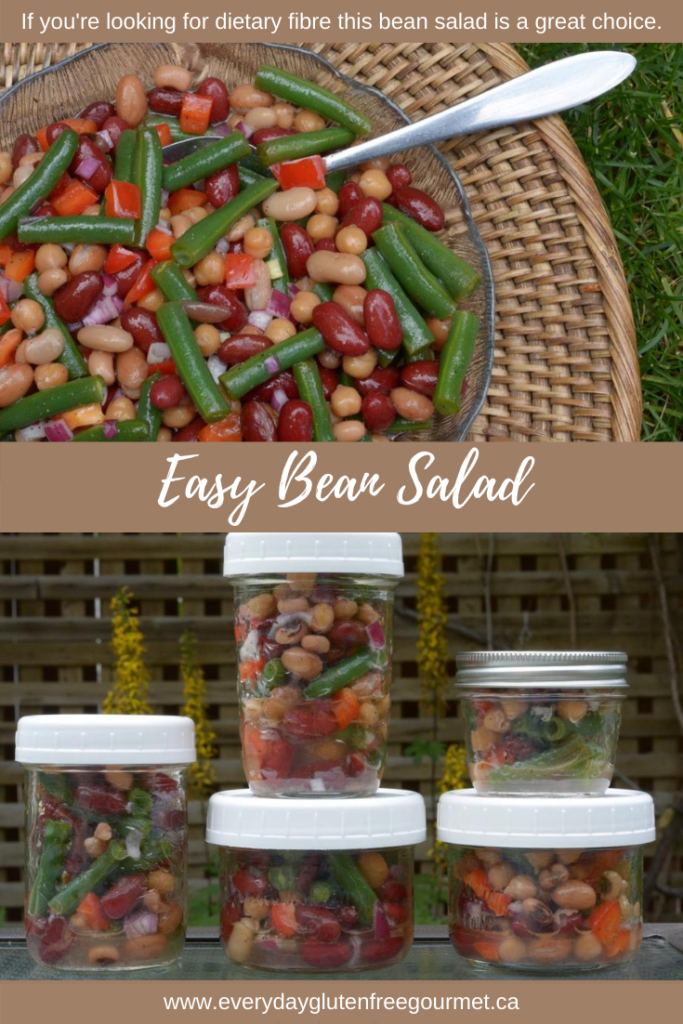 Easy Bean Salad in a bowl or in jars, is a delicious high fibre choice.