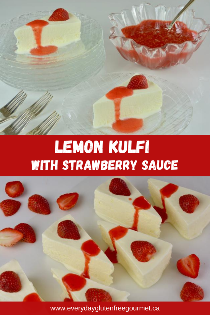 Lemon Kulfi with Strawberry Sauce or Orange Sauce