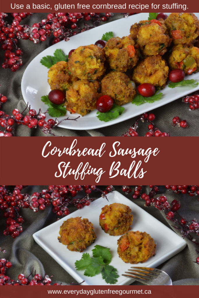 Cornbread Sausage Stuffing Balls as an appetizer or just a fun way to serve more stuffing.