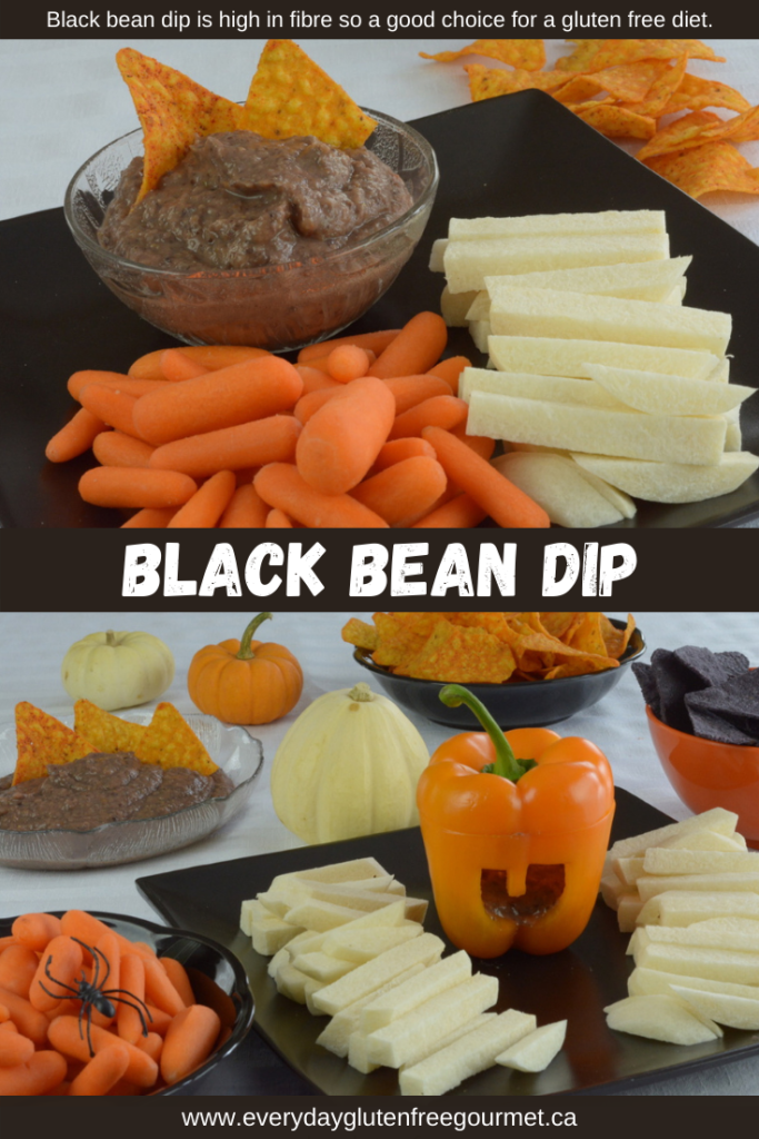 Black Bean Dip is perfect for an orange and black themed Halloween table.