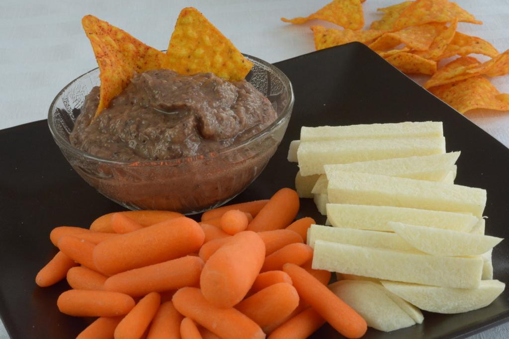 Black Bean Dip with jicama and carrots.