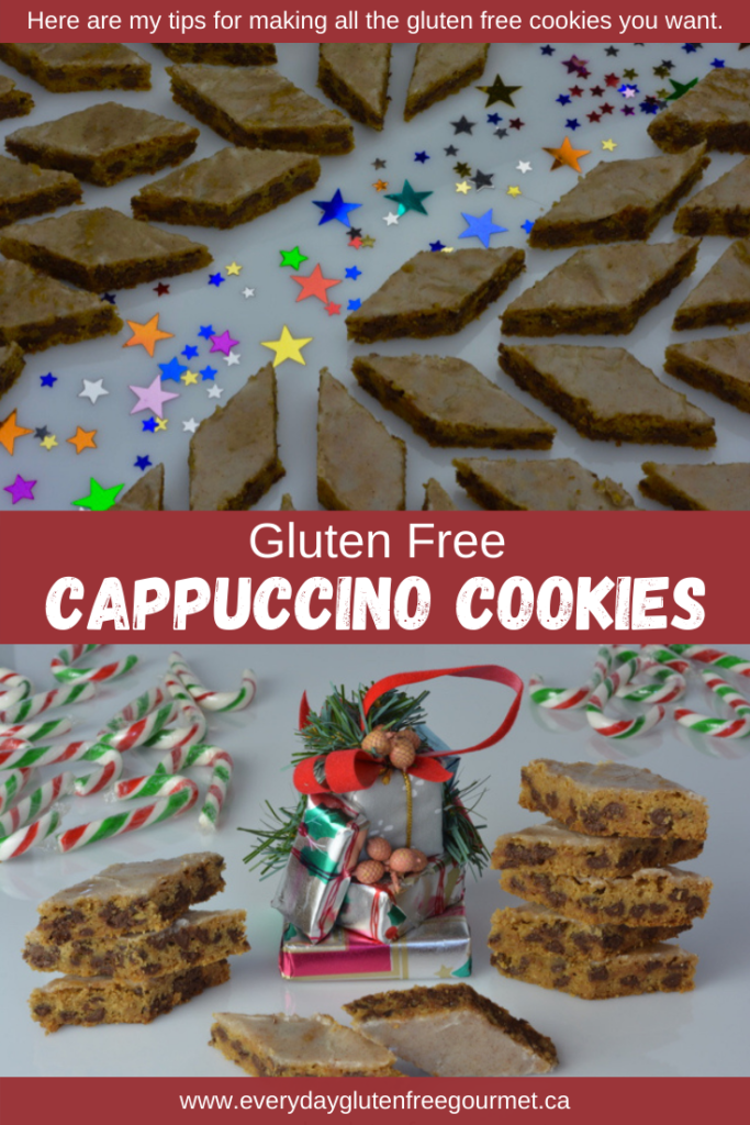 Cut into diamonds these Cappuccino Cookies look festive yet they are really just chocolate chip cookies with a kick from coffee and cinnamon.