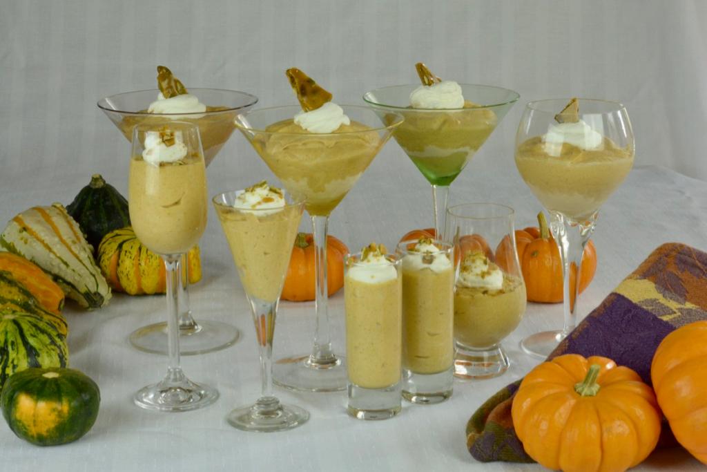 Frozen Pumpkin Mousse served in a variety of stemmed glasses.