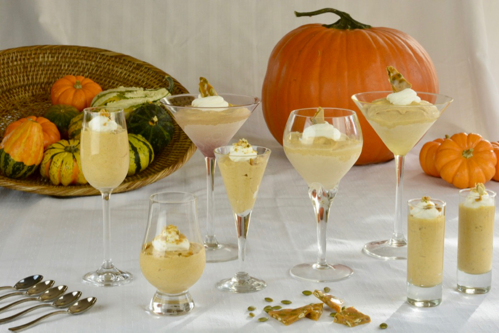 Frozen Pumpkin Mousse served in a variety of glasses.