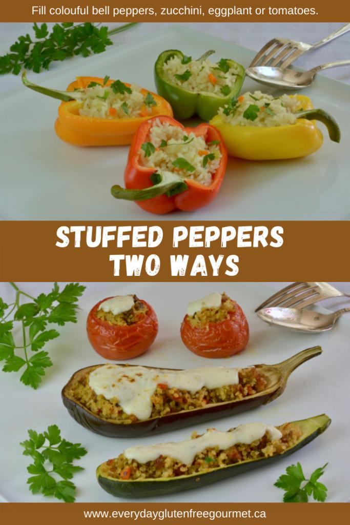 Stuffed Peppers and zucchini, eggplant or tomatoes.