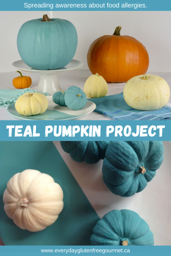 Teal and white pumpkins for the Teal Pumpkin Project