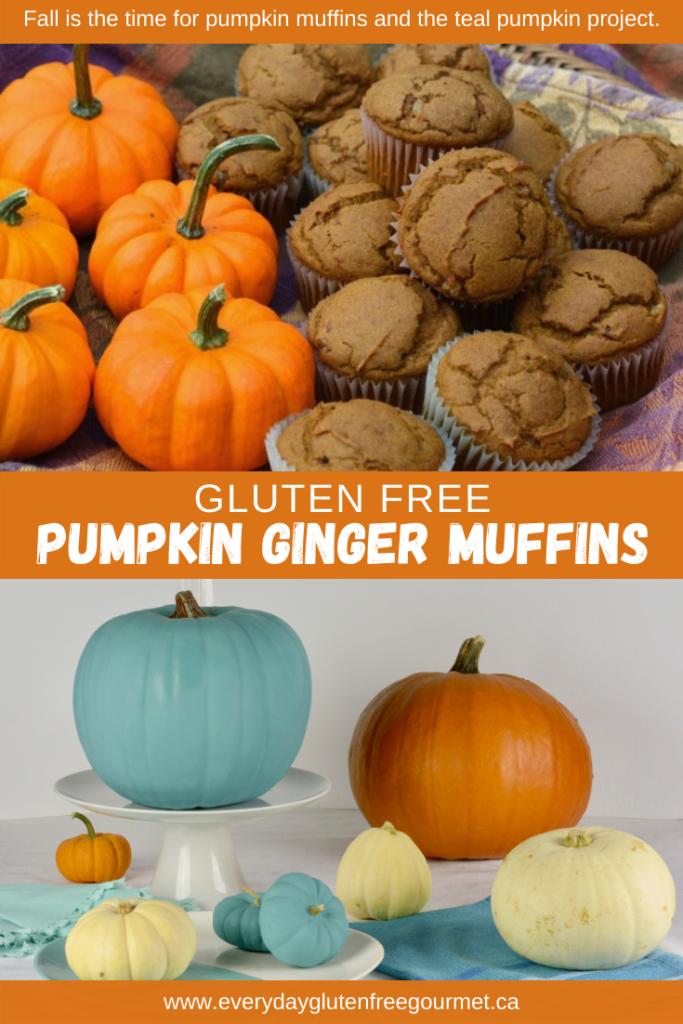 Yummy Pumpkin Ginger Muffins with a pumpkin display including a teal pumpkin.